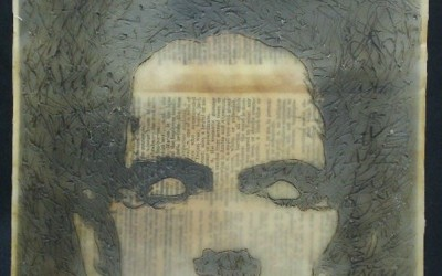 <b>Reflection</b><br>8x8 photo encaustic